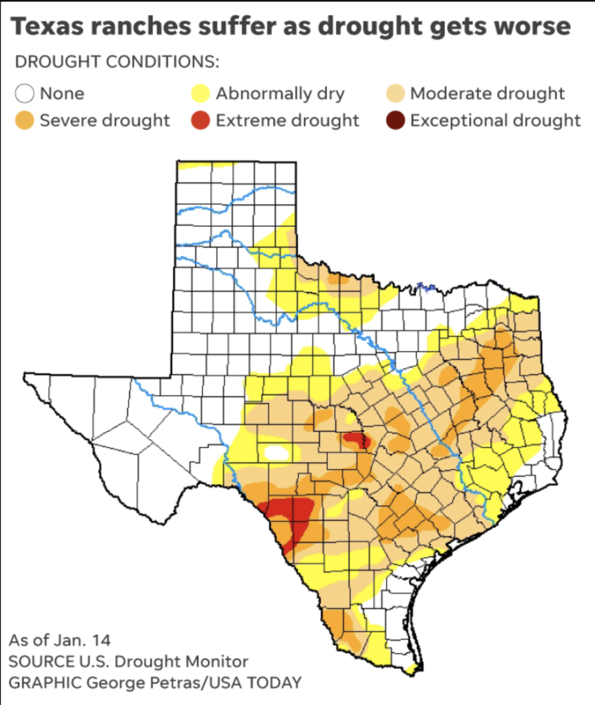 Texas Ranches Map More Rains Needed for Texas Ranchers to Avoid a Drought.   t2 Ranches